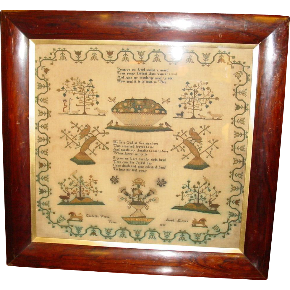 Sampler by Cordelia Vennes dated 1829-excellent