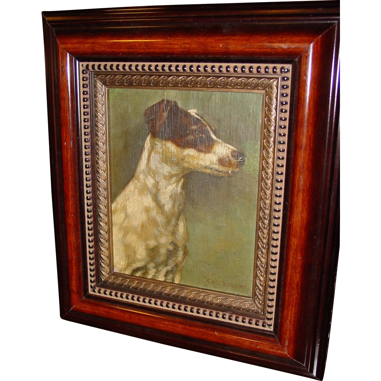 Oil on canvas Jack Russell terrier dog Alfred Weczerzick