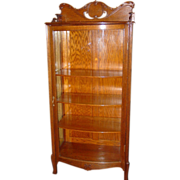 Nice quartered oak curved glass china cabinet-bookcase