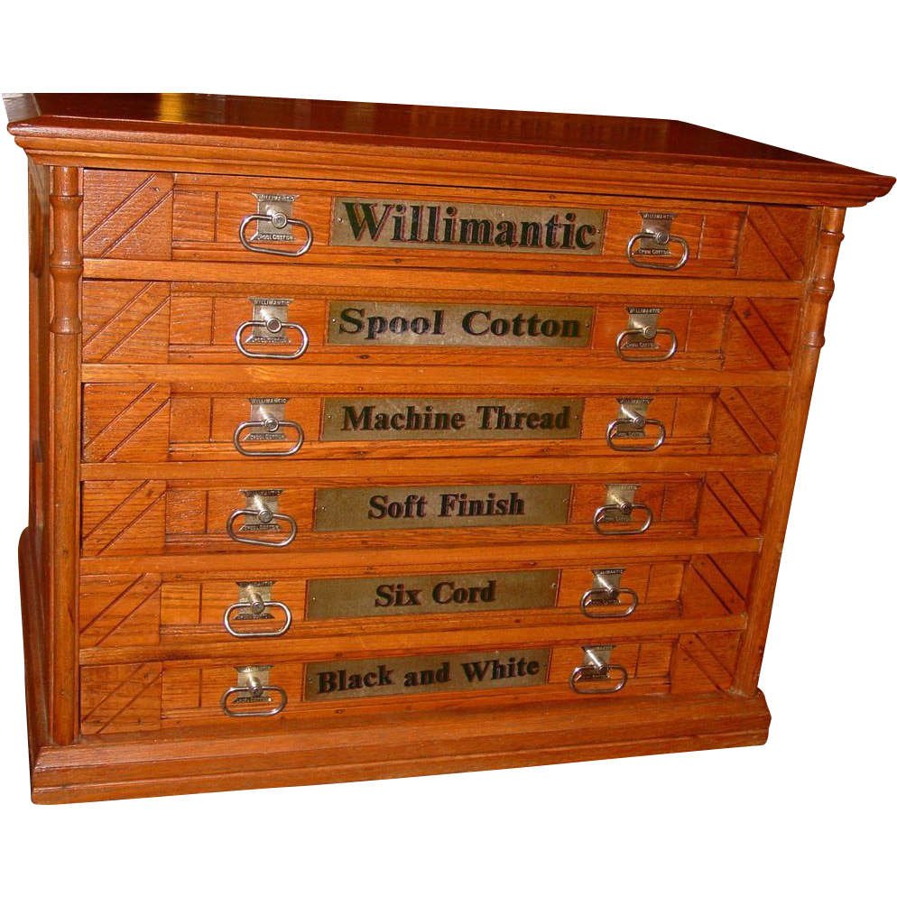 6 drawer oak Willimantic spool thread cabinet