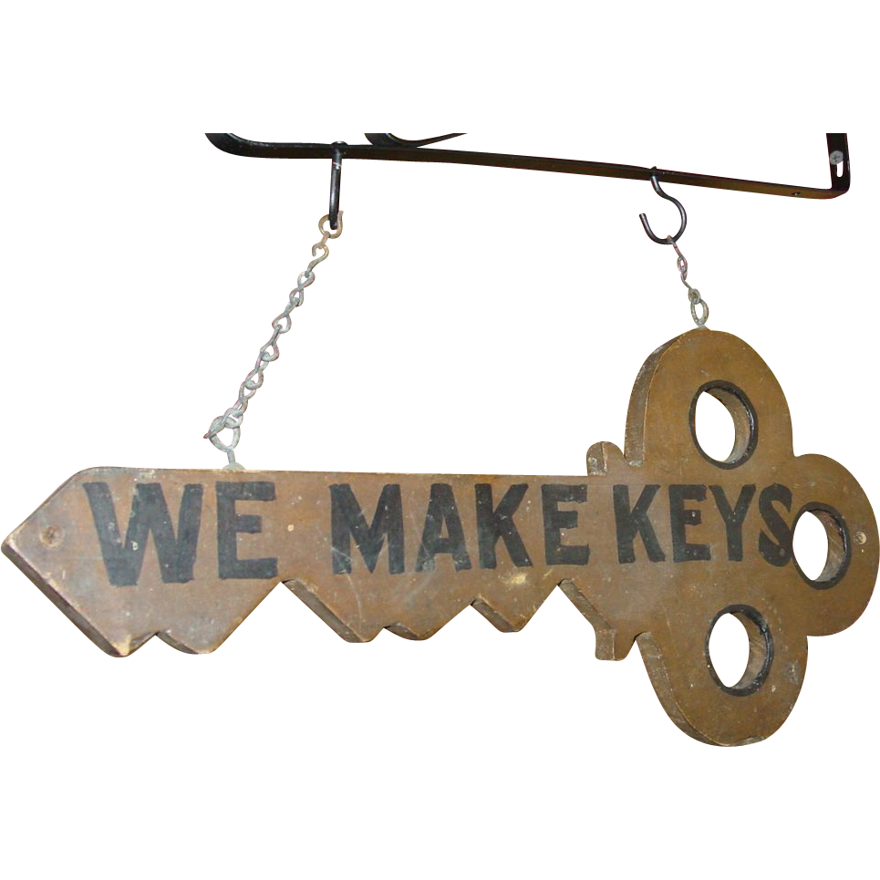 Antique Double sided wood trade sign 'WE MAKE KEYS'