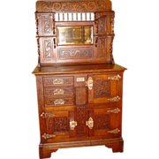 Super carved oak parlor ice box 3 doors 3 drawers