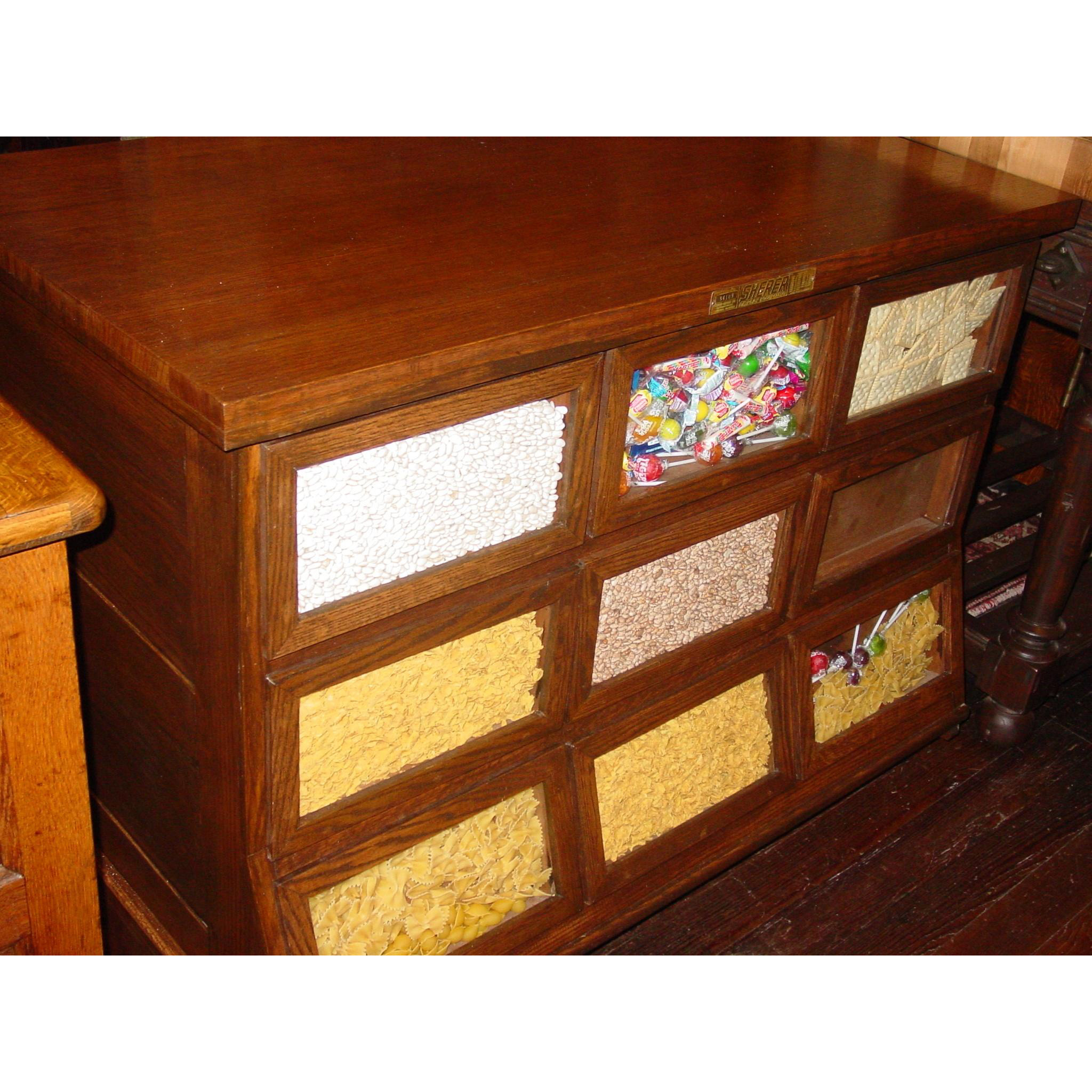 SHERER 9 drawer oak seed bean cabinet counter