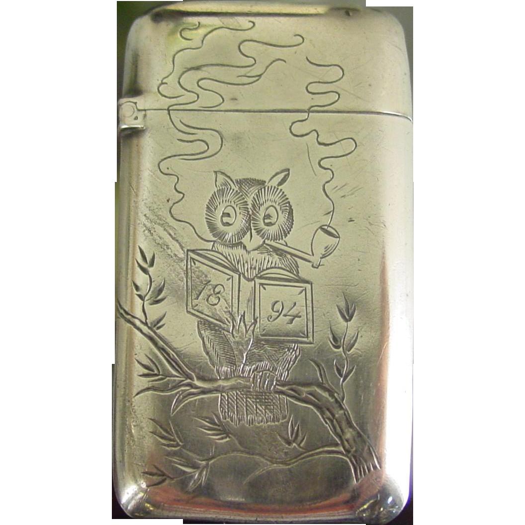 Sterling silver matchsafe vesta---owl
