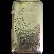 Sterling silver matchsafe vesta---Floral