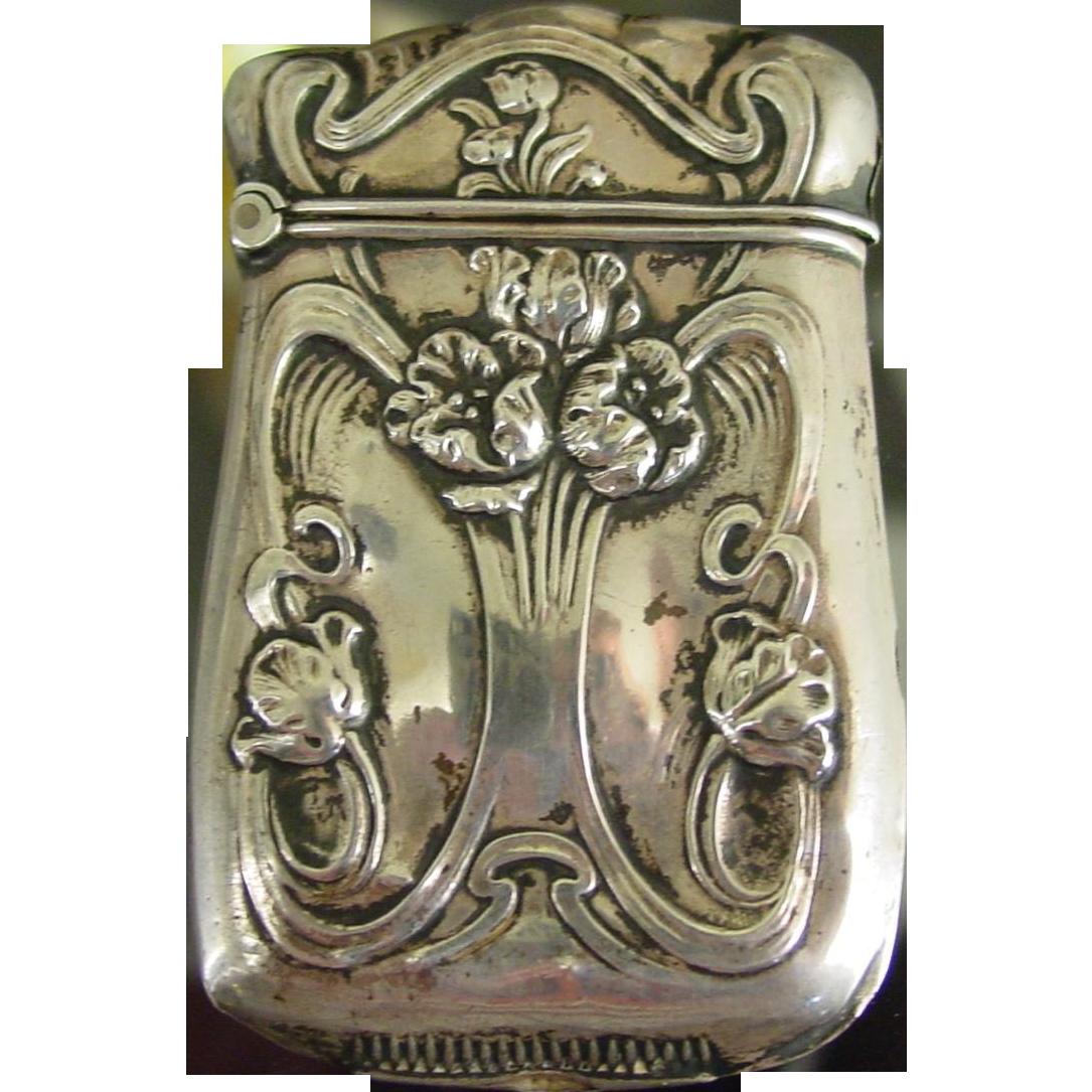 Sterling silver match safe vesta----raised floral design