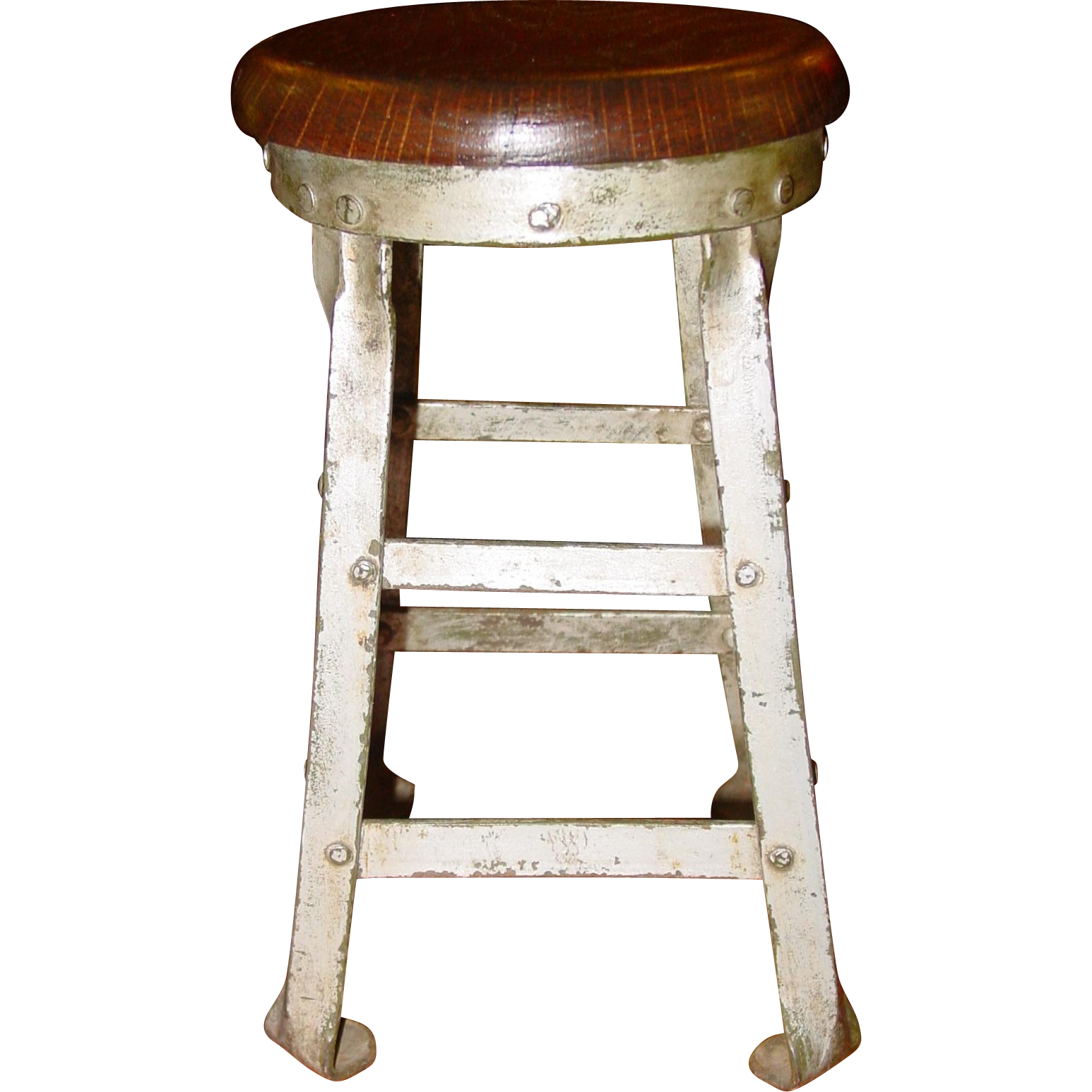 Neat salesman sample steel and oak factory stool