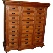 Exceptional fancy quartered oak 27 drawer case