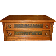 2 drawer oak J & P Coats spool thread cabinet