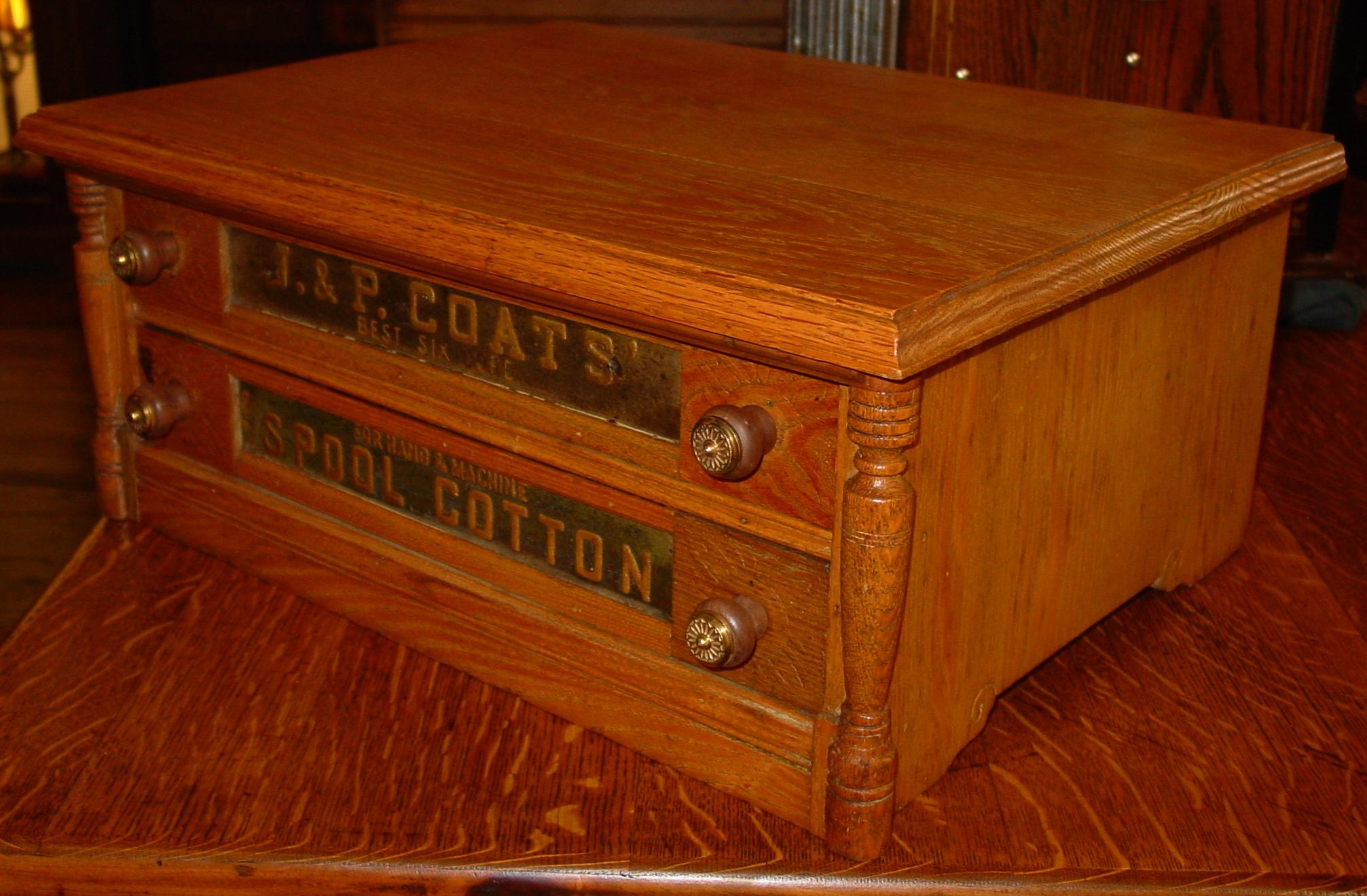 2 drawer oak J & P Coats spool thread cabinet from sydowsantiques ...