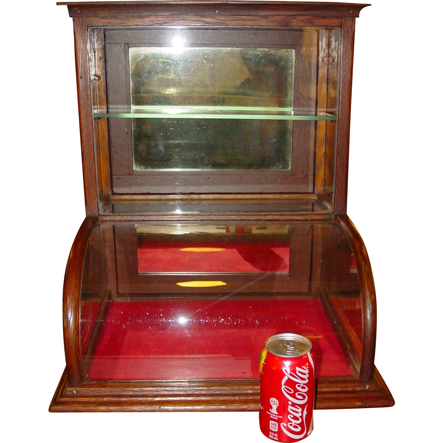 Small Quartered Oak Curved Glass Tower Display Case
