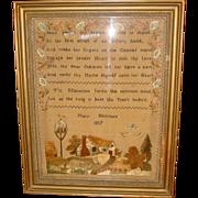Schoolgirl needlework sampler by Mary Hickman 1817