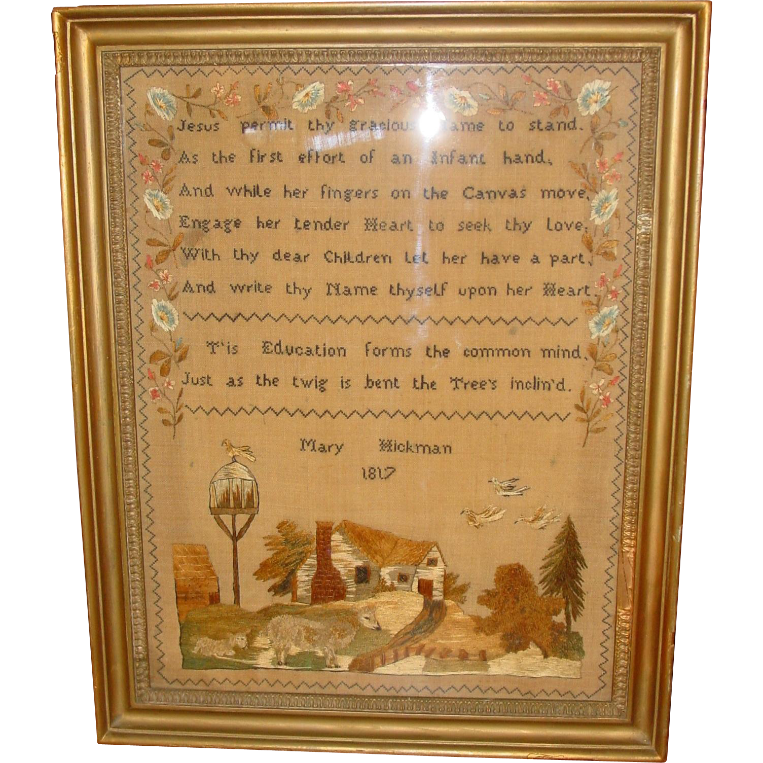 Schoolgirl needlework sampler by Mary Hickman 1817