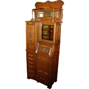 Outstanding quartered oak dental cabinet-Harvard