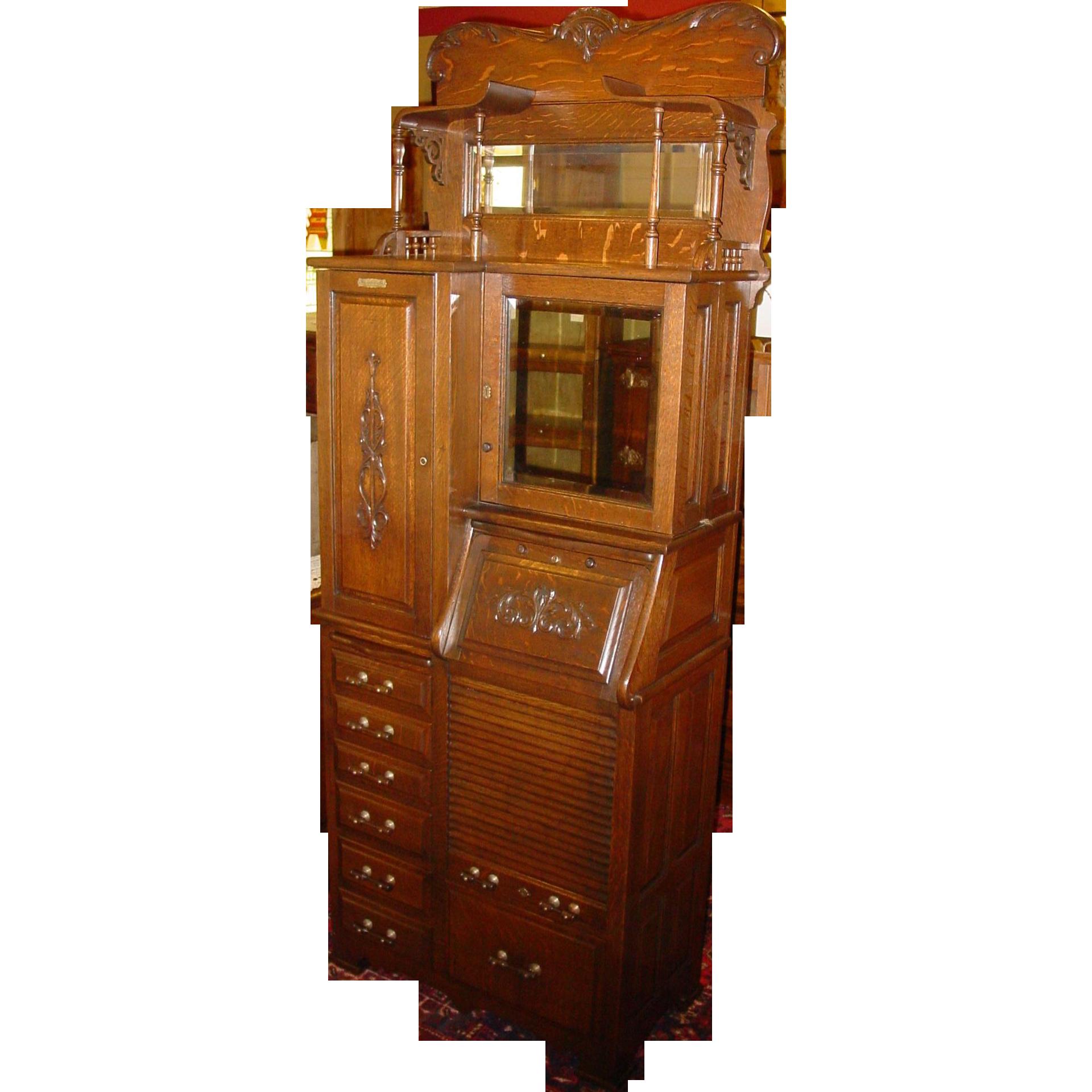 Outstanding quartered oak dental cabinet-Harvard