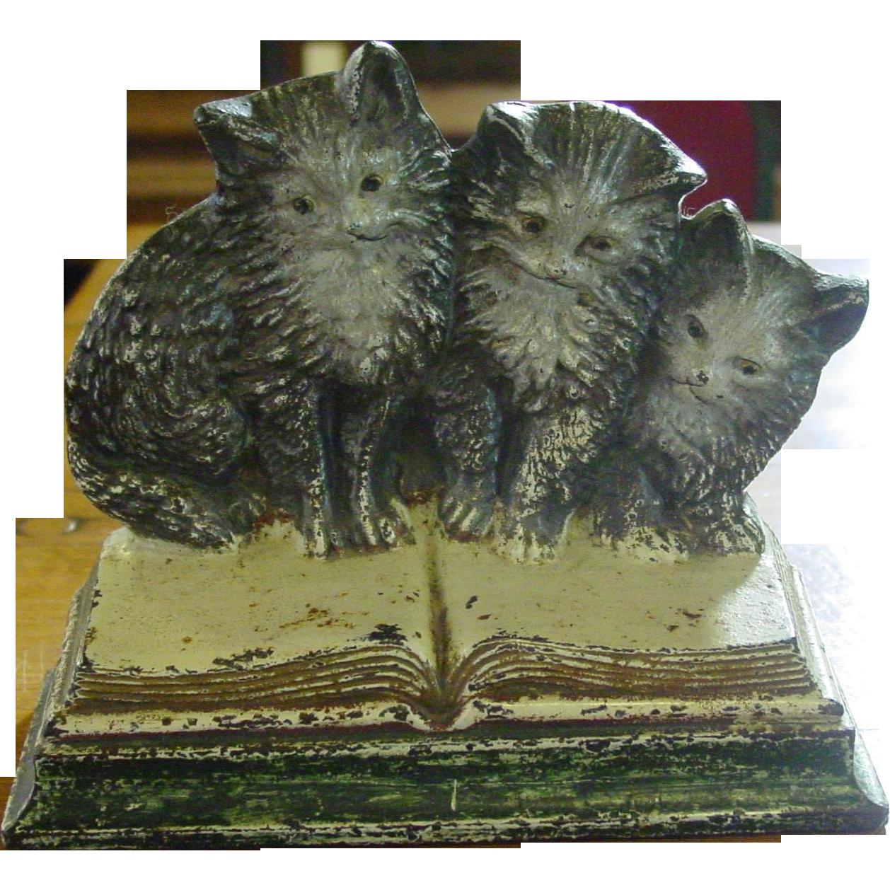 Cast iron doorstop 3 kittens bradley hubbard sold on ruby lane - Cast iron doorstop ...