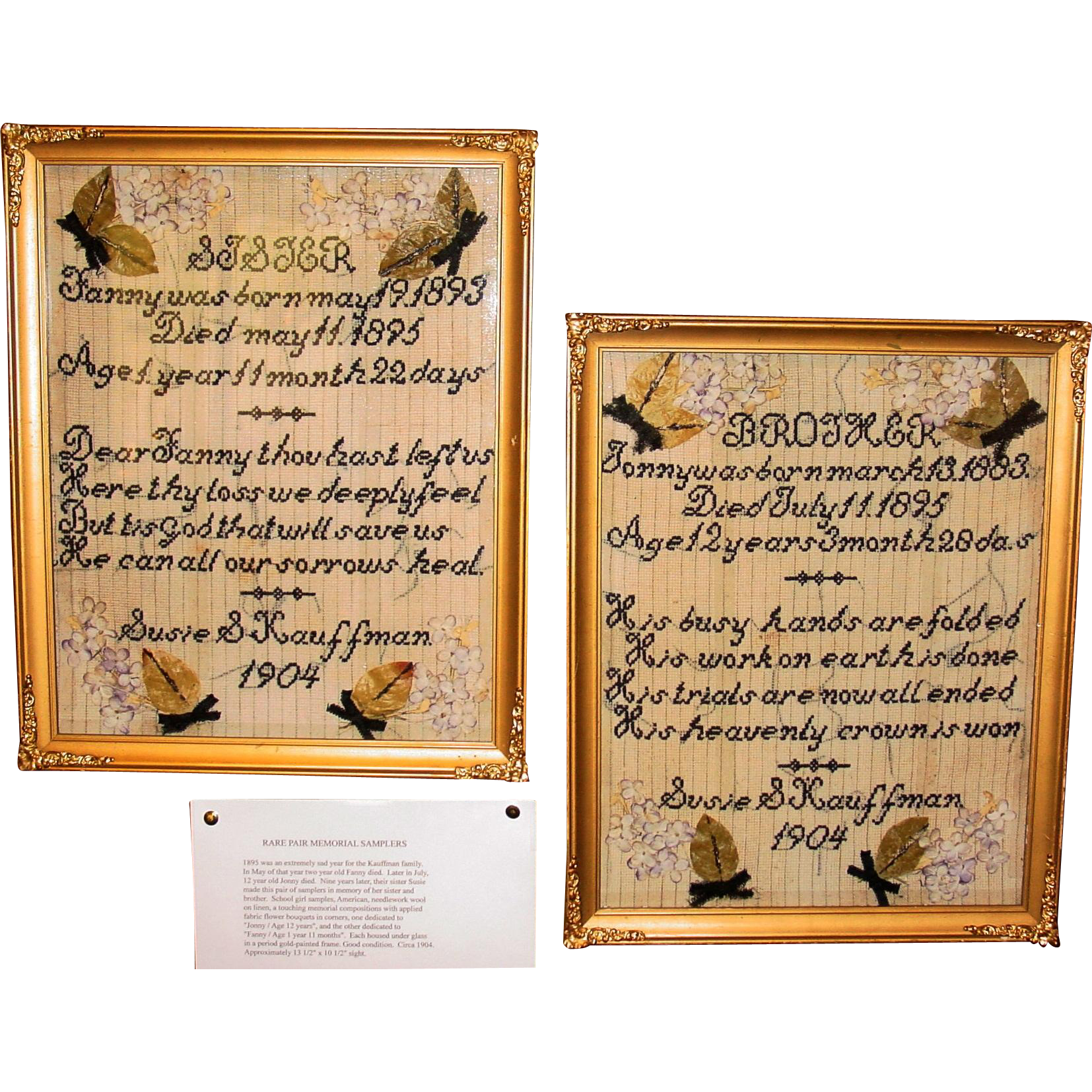 Touching pair of antique memorial samplers--1904