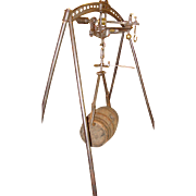 Unusual large 19th c. French wine scale with barrel