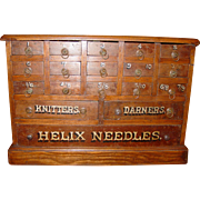 Neat Oak HELIX needle cabinet case with 18 drawers