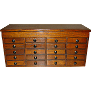 Neat oak 20 drawer jewelers  case cabinet