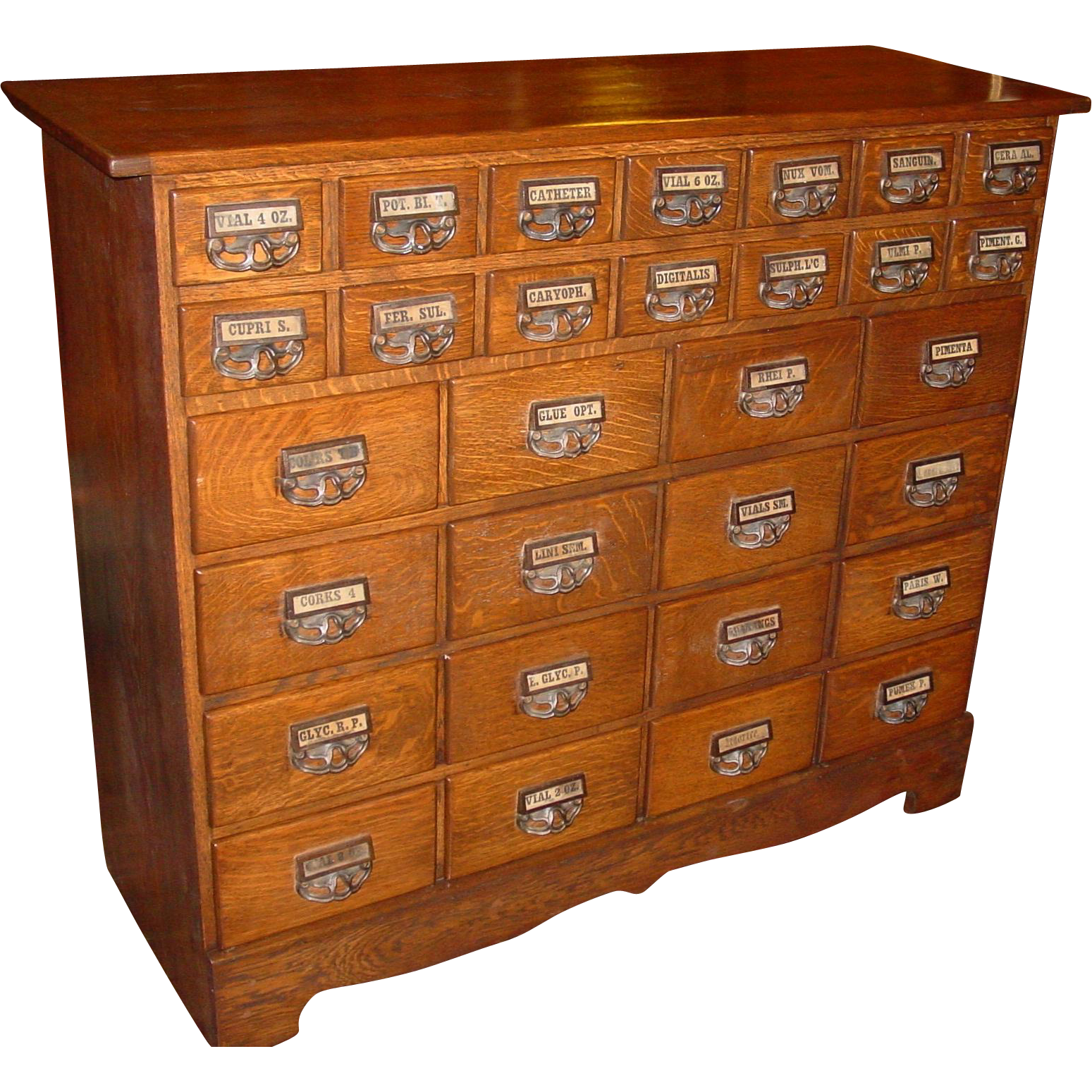 30 drawer quarter sawn oak Apothecary cabinet with original labels