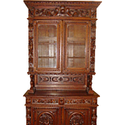 Exceptional antique carved oak bookcase-china cabinet-cupboard
