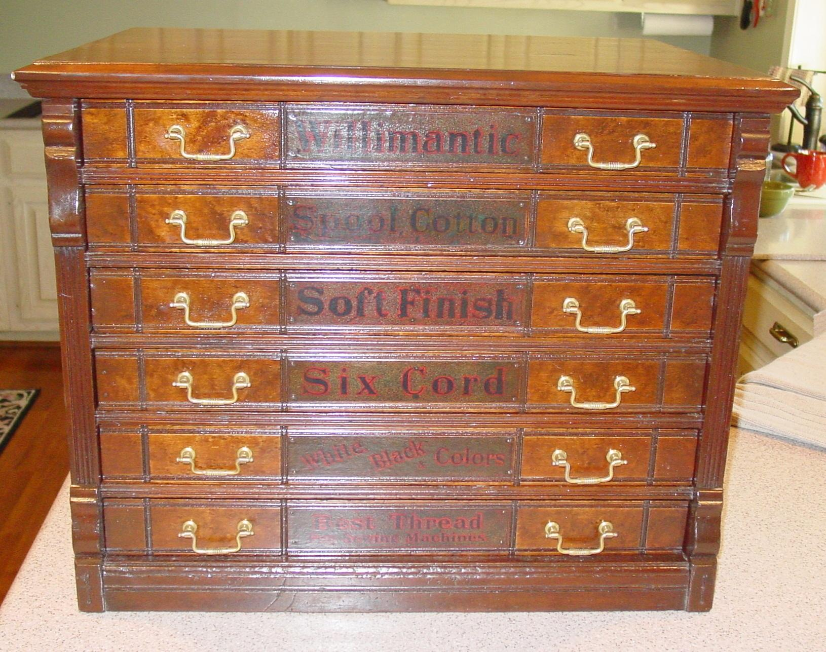 6 drawer Willimantic spool cabinet with owl and raised panels from ...