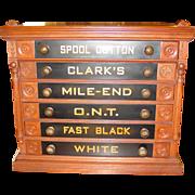 Clark 6 drawer spool thread cabinet--bird motif with pinecones