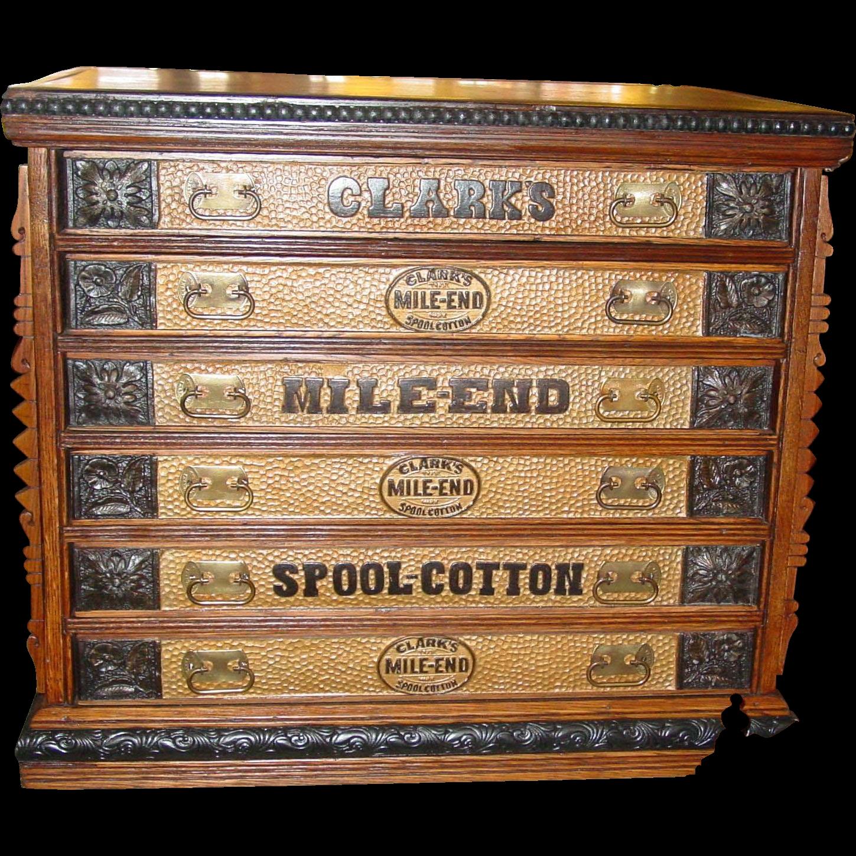 6 drawer Clark spool thread cabinet HONEYCOMB style