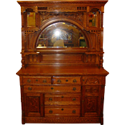 Beautiful quartered quarter sawn carved oak sideboard with built in valuables safe