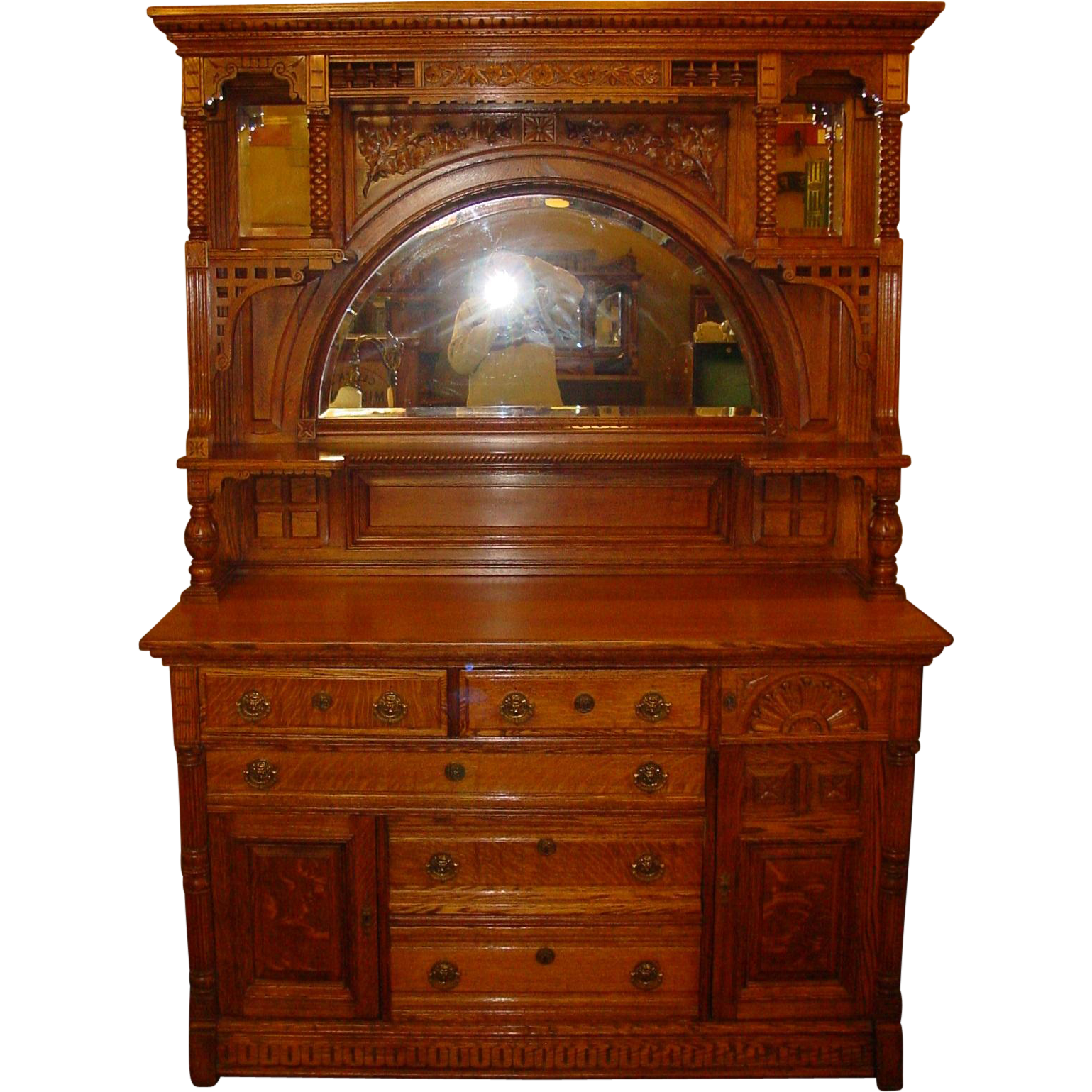 Beautiful quartered quarter sawn carved oak sideboard with built in valuables safe
