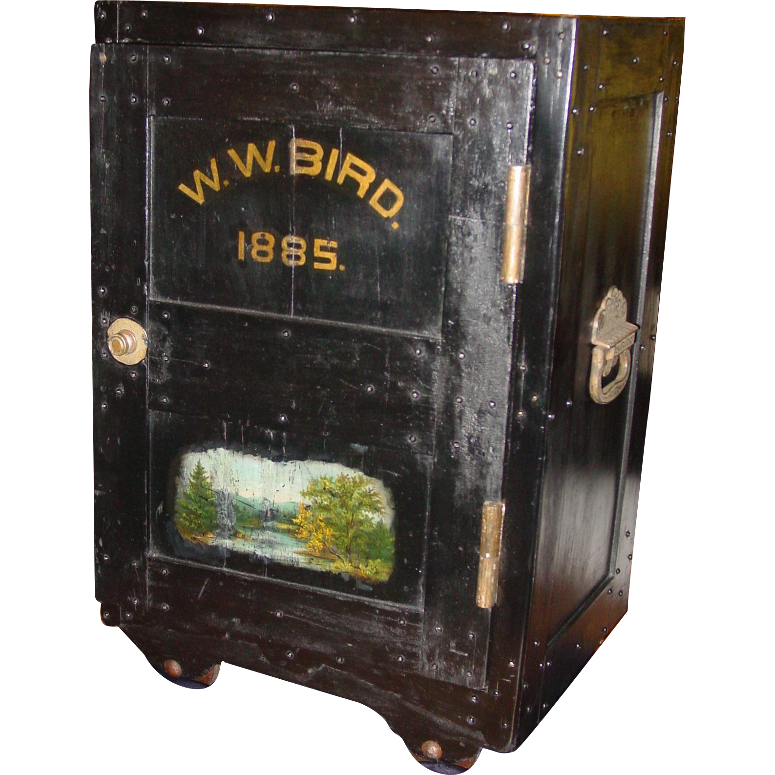 Unusual antique small personal safe W W Bird fitted interior
