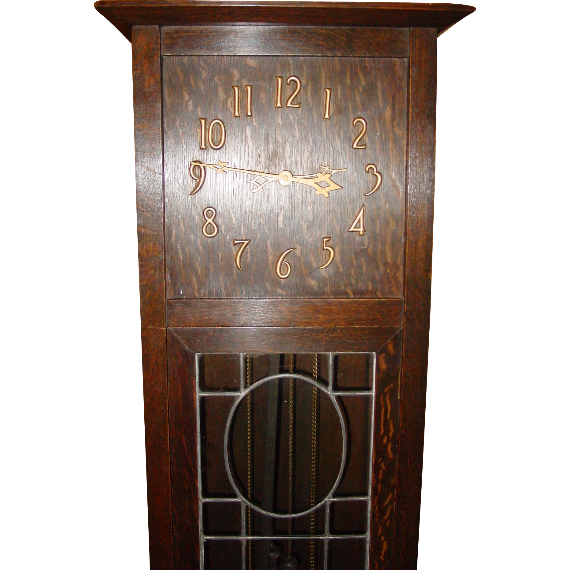 Signed New Haven oak tall clock leaded glass