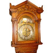 Superior oak tall case grandfather clock  Tiffany--moon dial--Elliot movement