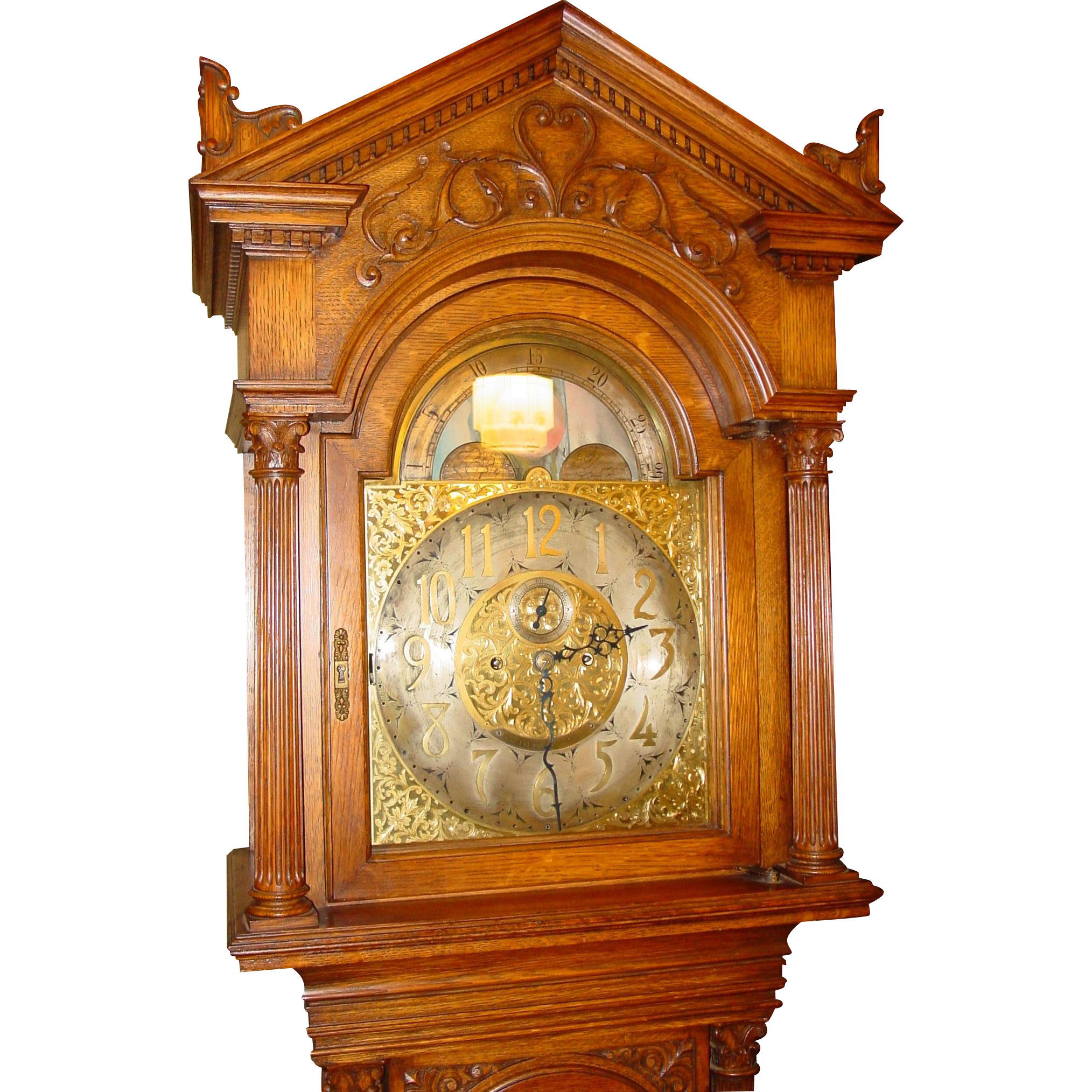 Superior oak tall case grandfather clock  Tiffany--moon dial--Elliot movement