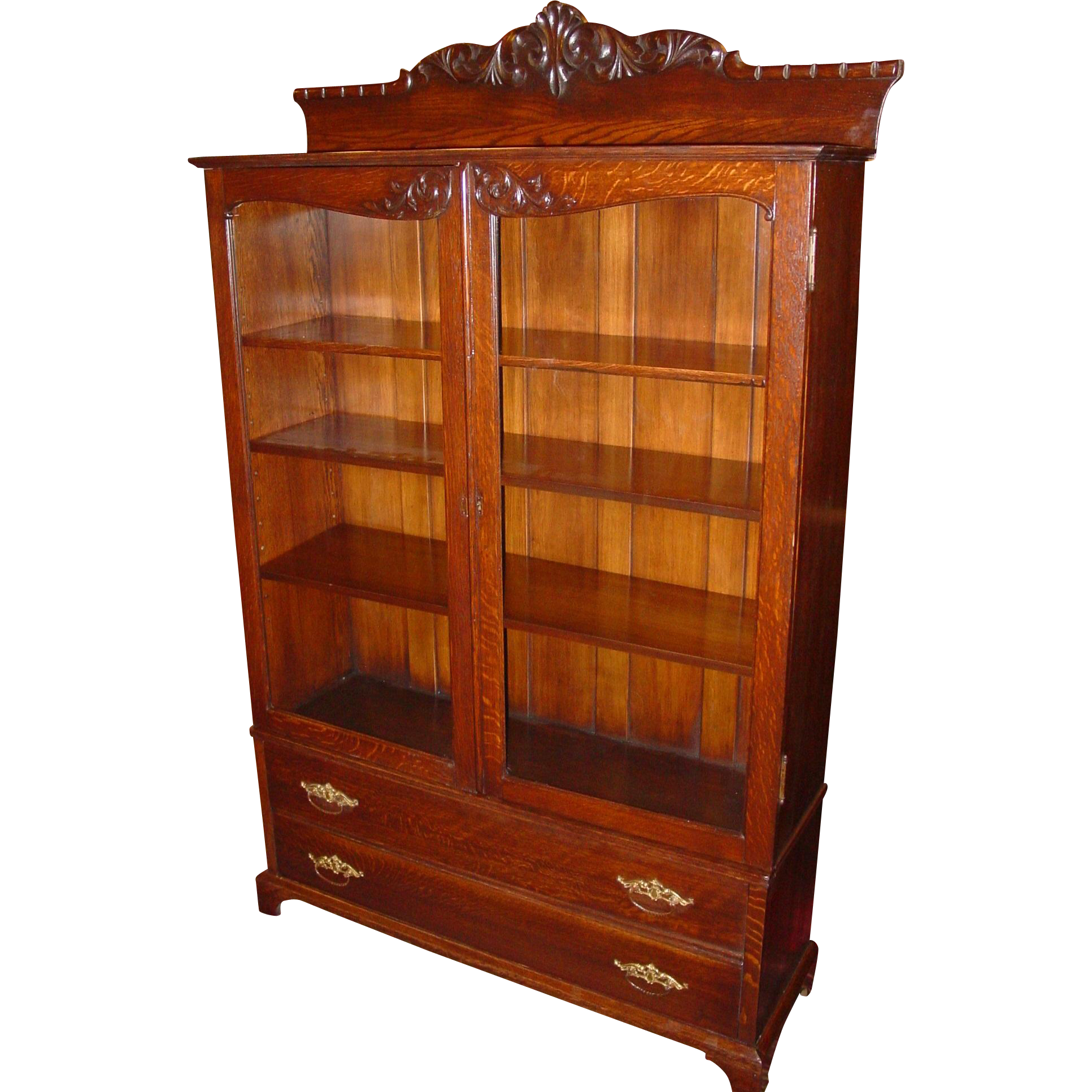 2 door quartered quarter sawn oak Bookcase w carving & 2 drawers