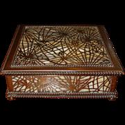 Fine Bronze  & glass Tiffany Studios desk handkerchief box---Pine Needle