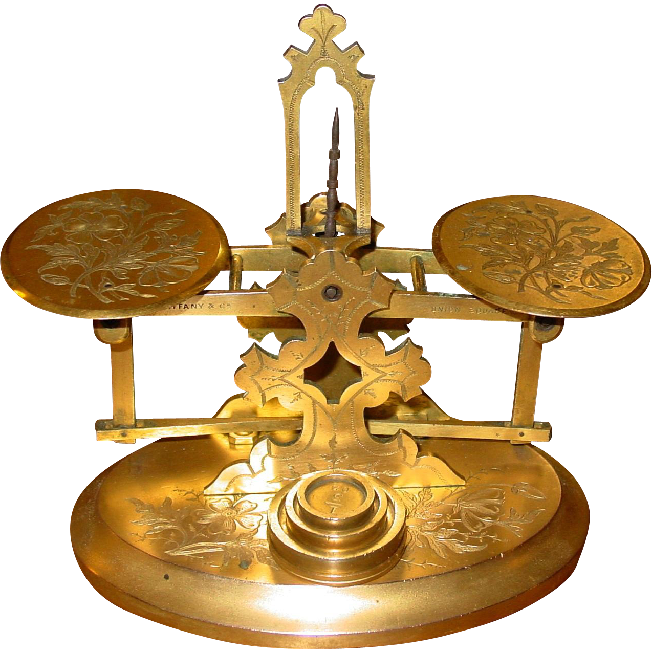 Pretty Tiffany brass letter desk scale with engraved base