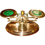 Brass & malachite postal desk letter scale
