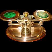 Brass & malachite postal desk letter scale