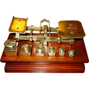 Unusual brass & wood postal desk scale w square weights