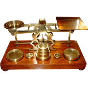 Larger postal letter desk scale-wood & brass by Mordan