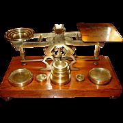 Larger postal letter desk scale-wood & brass by Mordan