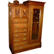 Fancy Quartered oak wardrobe or chifferobe