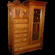 Fancy Quartered oak wardrobe or chifferobe