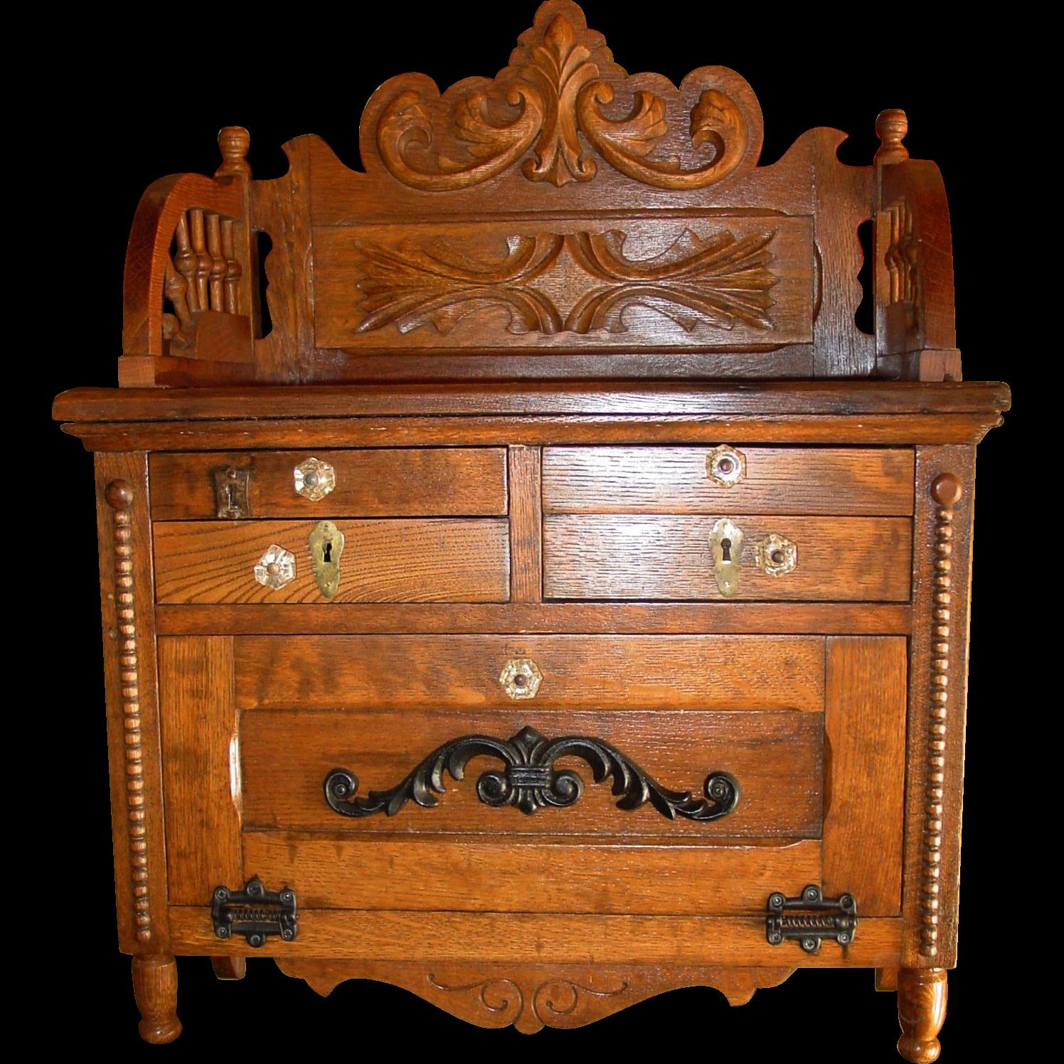 Quartered oak wall Barber shop cabinet---Koken
