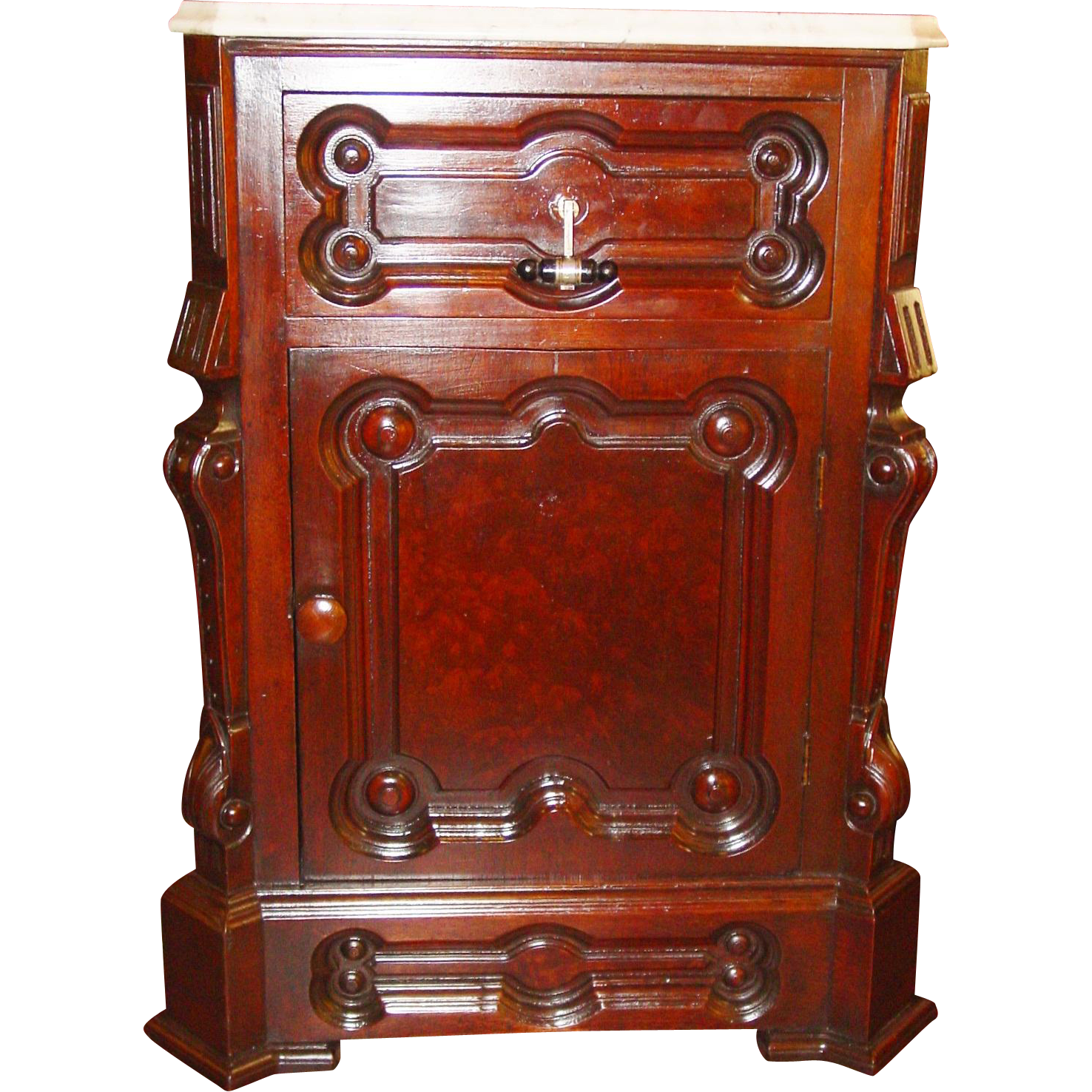 Fancy Burl walnut marble top half commode nightstand