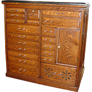 GREAT quartered quartersawn oak small multi drawer cabinet--dental--barber--apothecary