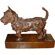 Edith Parsons bronze Scottish terrier dog sculpture----signed