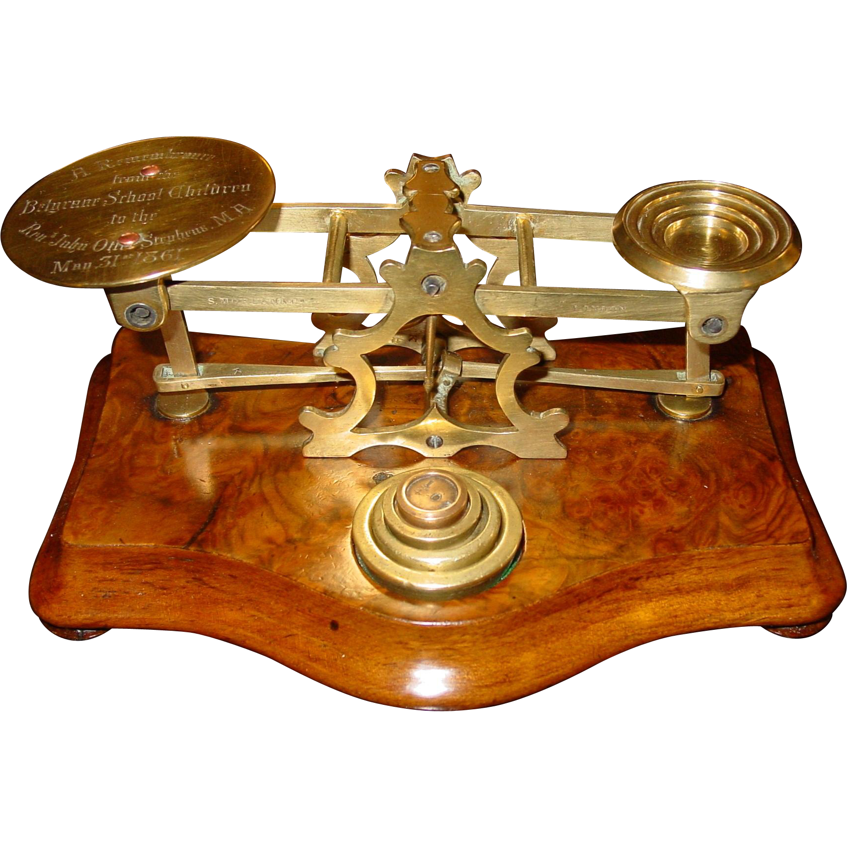 Antique Letter postal desk scale-Mordan-engraved and dated 1861